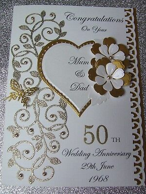 Personalised Wedding Anniversary Card Golden Silver Ruby 50th 25th 40th etc