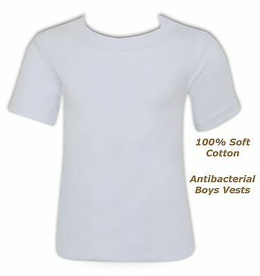 Boys white vest short sleeved t shirt 100% antibacterial cotton  5 to 8 Year