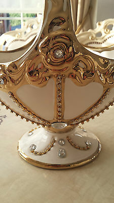 Italian Style  White/gold Ceramic Vase Basket New With Crystals