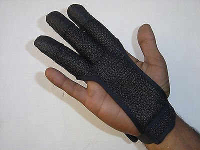 Archers Mesh Shooting 3 Fingers Glove Black