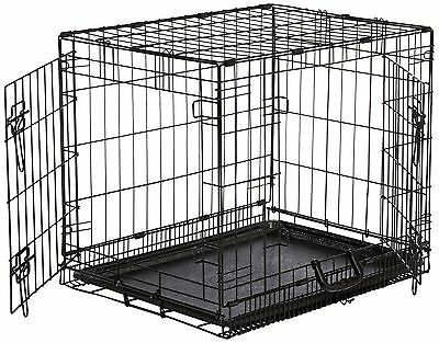 AmazonBasics Double-Door Folding Metal Dog Crate - Small 24 x 18 x 19 Inches