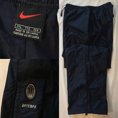 NIKE Uptempo Men's XXL Lined Nylon Track Pants Navy Blue