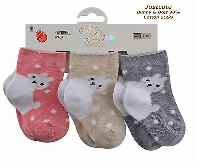 Baby Girls socks Easter Bunny Rabbit Socks 3 pairs 90% Rich Cotton 0 to18 months