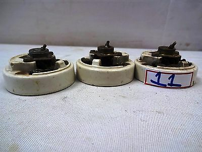3 Pc Antique Ceramic&Brass Electric Switch British Make Crabtree Vitreous # 11