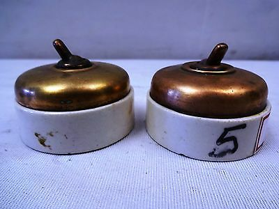 2 Pc Antique Lander Patons GEC Pat abroad Vitreous Electrical switche English #5