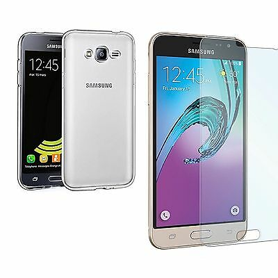 Housse COQUE TPU SILICONE+ VERRE TREMPE film protection Samsung Galaxy J3 (2016)