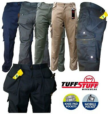 "Mens Tuff Stuff Pro Work Trouser Knee Pad Pouch Nail Pockets 30-44"" Cargo Combat"