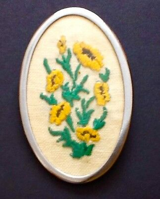 Vintage 1940's Yellow Flowers Embroidered Large Oval Brooch Silver Tone
