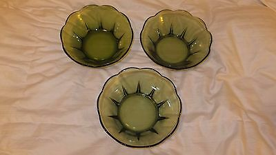 "Vintage Anchor Hocking Lot of 3 Serving Bowls 8"" Diameter Avocado Green  NICE!!"
