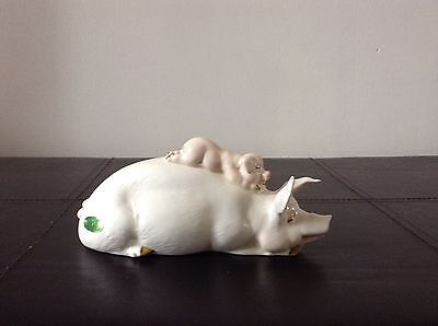 Antique Early Beswick England Pig And Piglet Piggy Back Figure