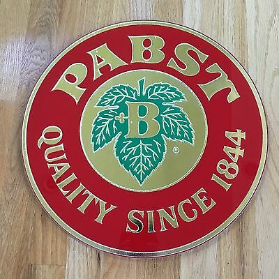 Vintage PABST Beer Reverse On Glass Round Bar Advertising Sign