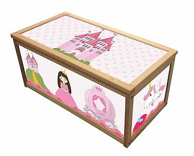 Princess Wooden Toy Box / Storage Unit For Girls Children Kids Toys Chest Boxes