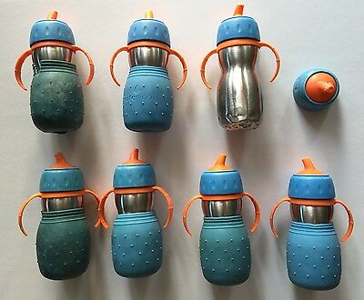 Kid Basix Safe Sippy Cups Stainless Steel Blue BPA Free Baby Toddler Lot of 7