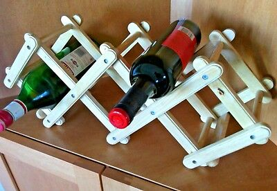Wine Rack 5 Bottle Pine Wood Folding Free Standing Kitchen Stand Bar Storage Red