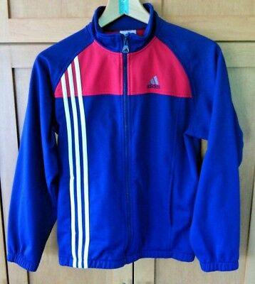 Adidas Youth Blue Red White Track Top Size L Zip Up Tracksuit Jacket Unisex Run