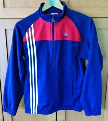 Adidas Youth Tracksuit Jacket Blue Red White Track Top Size L Zip Up Unisex Run