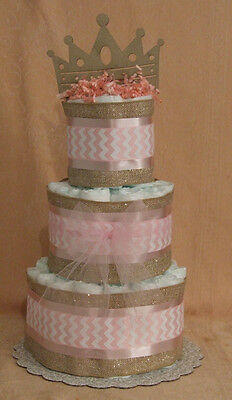 3 Tier Diaper Cake Pink & Gold Princess Crown Baby Shower Centerpiece