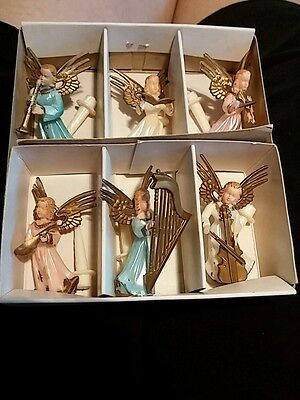 Vintage Six Angel Musicians Hand Decorated Christmas with picks Hong Kong