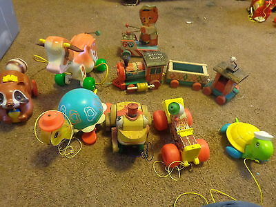 LOT OF8  Wooden Pull Toys Fisher Price VTG 1960's  moly the cow  and much more
