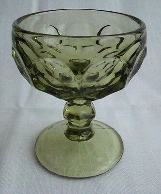 Imperial American  Provincial Green Sherbet  Glass Thumbprint Pattern