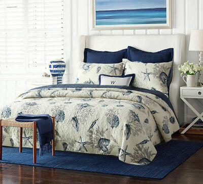 Quilted 100% Cotton Coverlet / Bedspread Set Queen King Size Bed 230x250CM Shell
