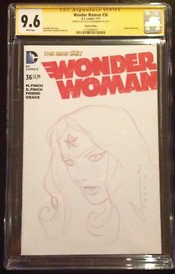 Wonder Woman #36  Cgc Ss 9.6 Blank Cover With Original Sketch By Chad Hardin
