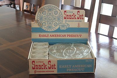 Anchor Hocking Early American Prescut 8 Piece Snack Set with box.