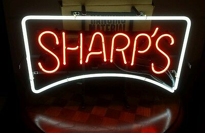 Sharps Miller Brewing Company Electriglas Bar Sign Red