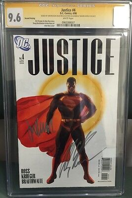 Justice #4 Cgc Ss 9.6 Signed By Alex Ross & Jim Krueger Variant Edition Cover