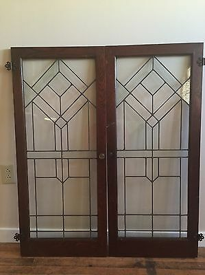 Pair of Antique Leaded Glass Oak Cabinet Doors.  Great Condition.