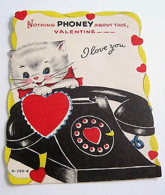 Used Vtg Valentine's Day Card Kitten with Telephone Nothing PHONEY About This