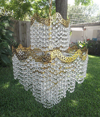 MCM Crystal Prism 5 Tier Chandelier Mid Century Hollywood Regency 13 Light