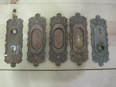5 VINTAGE RECLAIMED DOOR KNOB BACK KEY PLATES Pocket Door Victorian Ornate Brass