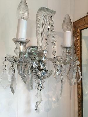 PAIR Fantastic Hollywood Regency Vintage Chic Crystal Plume Glass Light SCONCES