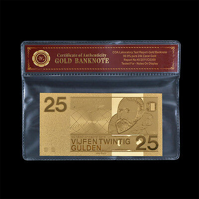 NETHERLANDS Bill Note 25 GULDEN Real 24k Gold Foil Note Collectable Free COA