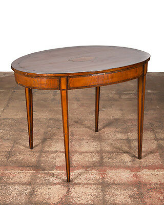 19th century Antique Inlaid Walnut Occasional Oval Side Table