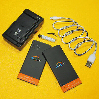 AceSoft 2x 3990mAh Battery Wall Charger Cable for Samsung Galaxy Mega 2 II G750A