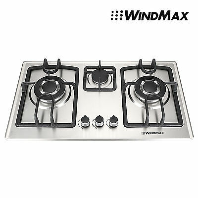 Silver  71cm 3 Burner Gas Cooktop Stainless Steel Hob With NG LPG Conversion Kit