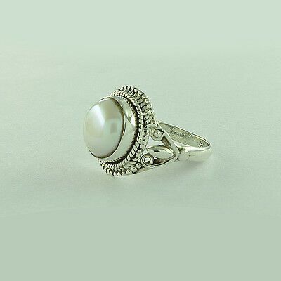 """Handmade 925 Sterling Silver Jewelry. Real Pearl Gemstone Ring Size """"5.5 US"""