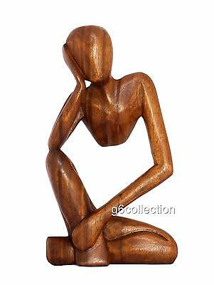 "12"" Wooden Abstract Sculpture Statue Hand Carved ""Thinking Man"" Gift Home Decor"