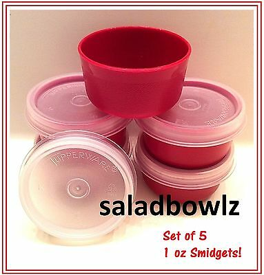 TUPPERWARE SMIDGET SET OF 5 Smidgets w/ SEALS in HOLIDAY VALENTINE RED fREEsHIP