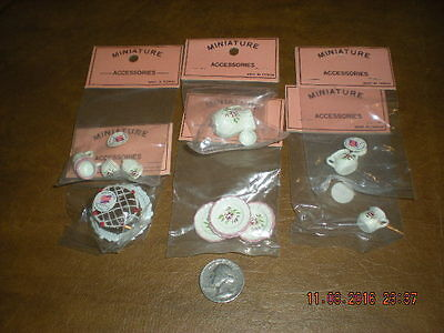 Dollhouse -  Lot of 6 Packs of Accessories - Metal Rose Kitchen Dishes & Cake