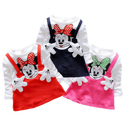 Toddler Kids Baby Girls Minnie Mouse Party Dress Long Sleeve Tutu Skirt Clothes