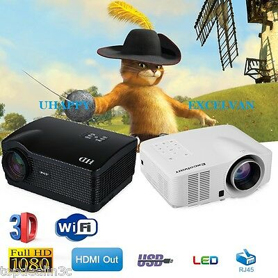 Excelan Mini LED LCD Support 1080P Home Theater Projector USB/VGA/HD/AV/ATV/TF
