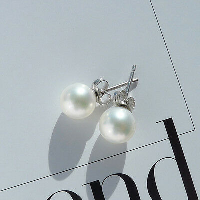 7-7.5MM White Round Genuine Freshwater Pearl Stud Earrings 925 Sterling Silver
