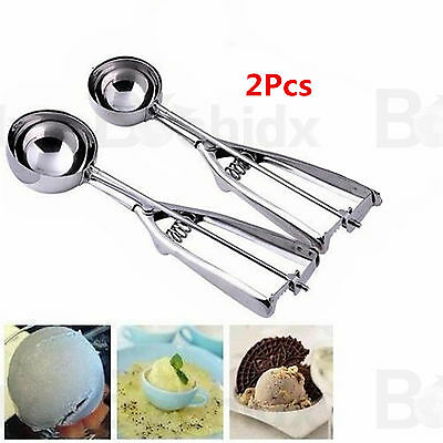 2x Stainless Steel 6cm Scoop For Ice Cream Mash Muff Muffin Potato Food Spoon