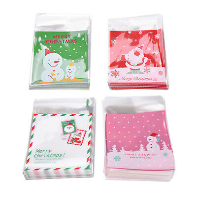 100x Self Adhesive Cookie Candy Package Gift Bags Cellophane  Christmas Chic lia