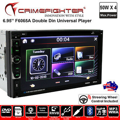 """CRIMEFIGHTER F6065A 6.95"""" Universal Double Din DVD MP4 USB FM Car Stereo Player"""