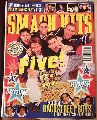Smash Hits Magazine Music Issue 17 - 31 December 1997 Five Backstreet Boys 911