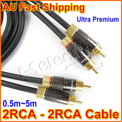 Ultra Premium 2 RCA to 2 RCA Stereo Audio Cable Male to Male Gold Plated 0.5m~5m